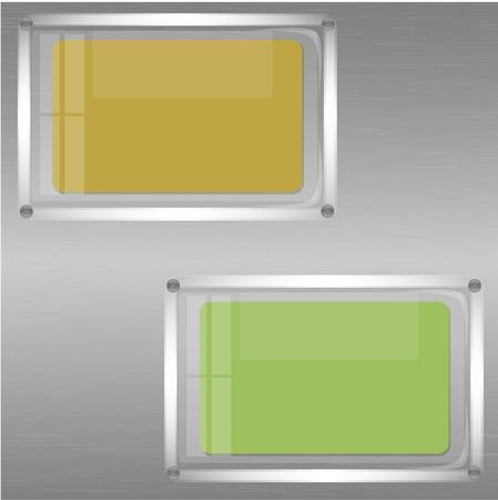 dos hojas de papel después de vidrio en una pared metálica