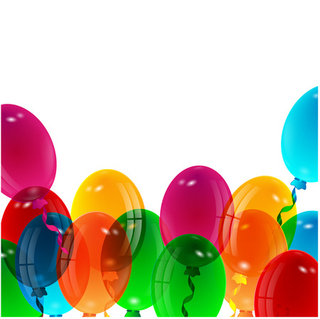 illustration of varicoloured balloons on a white background Illustration