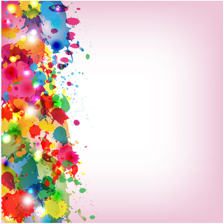 Spots of varicoloured paint on a pink background Illustration