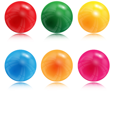 Illustration of balls of different color on a white background