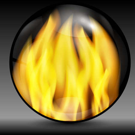 flowed: Fire into a sphere on a grey background