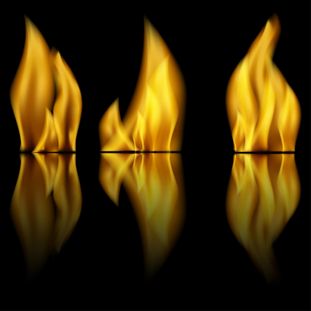 Fire and reflection of fire on a black background