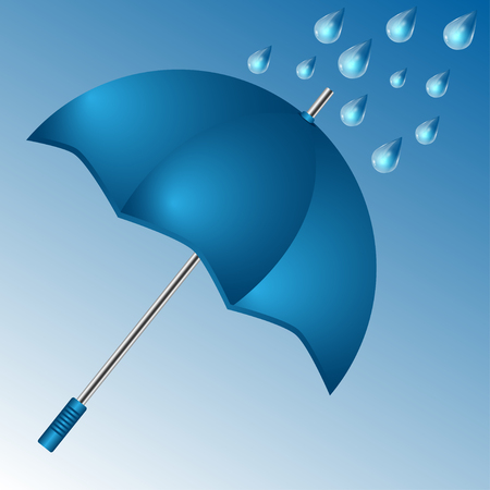 gale: umbrella of blue color and raindrops