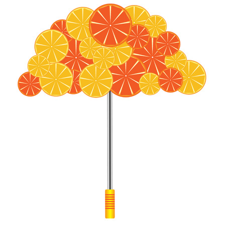 umbrella with oranges and grapefruits on a white background