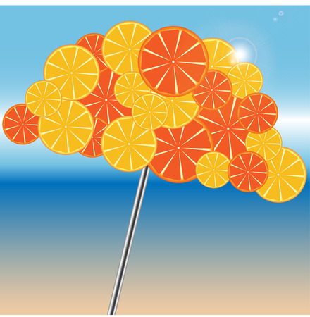 beach umbrella is decorated by oranges and grapefruits Çizim