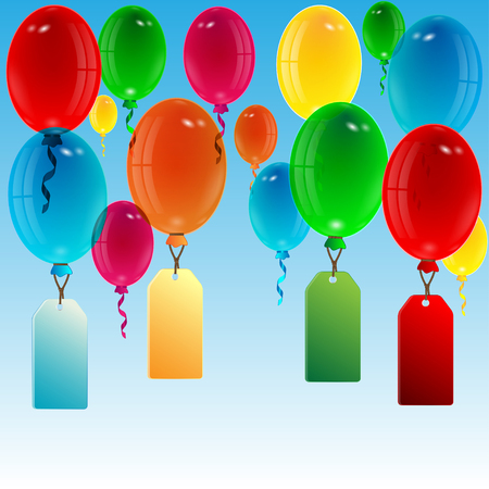 upwards: balloons of different color with labels