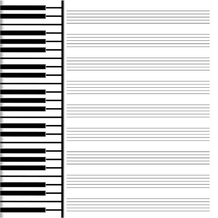 music paper is decorated by the keys Illustration