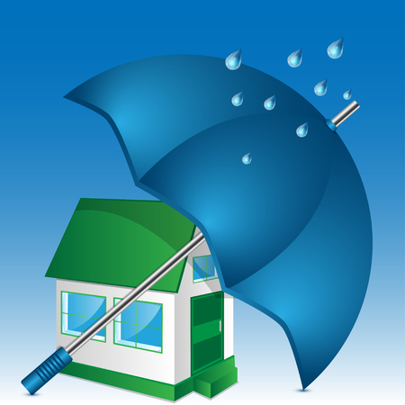 illustration of house and umbrella on a blue background Illustration