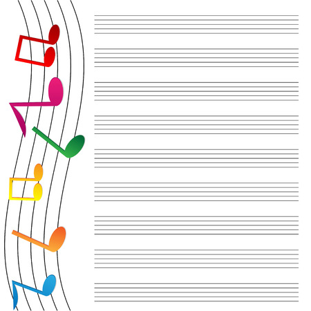 operetta: music paper is decorated by varicoloured notes