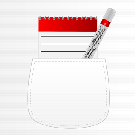 pharmaceutics: notebook for recipes and a thermometer in his pocket white Illustration