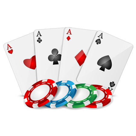 playing cards and poker chips on a white background