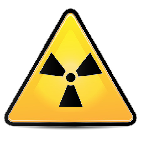 dangerously: sign of radiation on a white background