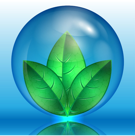 reflection of life: green leaves in a blue sphere on a blue background Illustration