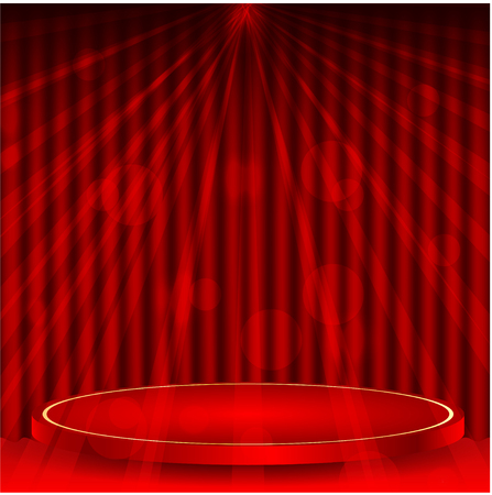 portiere: podium on a background a red curtain and rays of light
