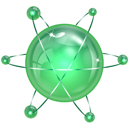 spheres of green  color on a white background Illustration
