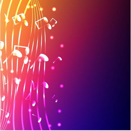 luminous notes on a varicoloured background Illustration