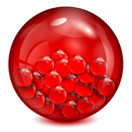 glass ball of  red color with little balls inwardly Stock Illustratie