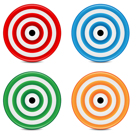 set of varicoloured targets on a white background