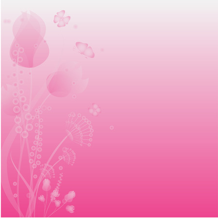 morning dew: flowers and butterflies on a pink background Illustration