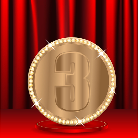 chinks: bronze medal with a number three on a background red window shades