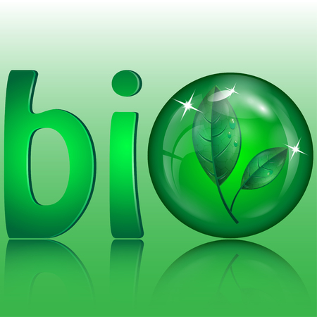 flowed: Letters of green color and green sphere with leaves inwardly Illustration