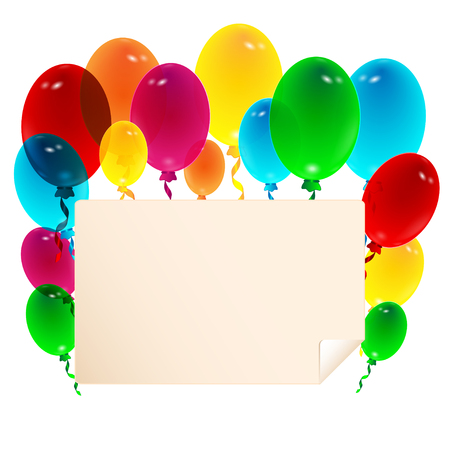 Sheet of paper decorated with balloons Illustration