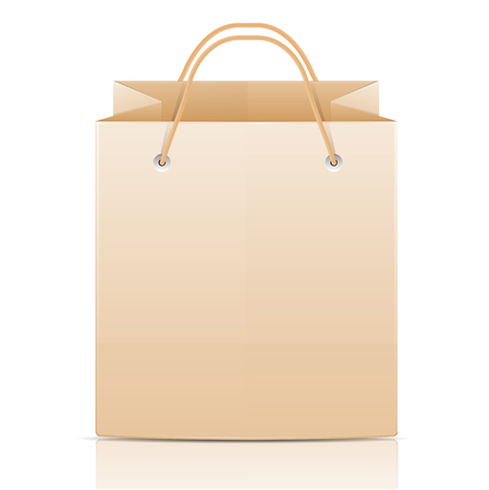 Paper bag for shopping on a white background