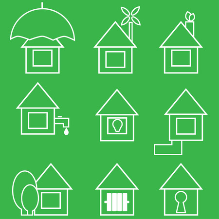 set of icons of green color Illustration