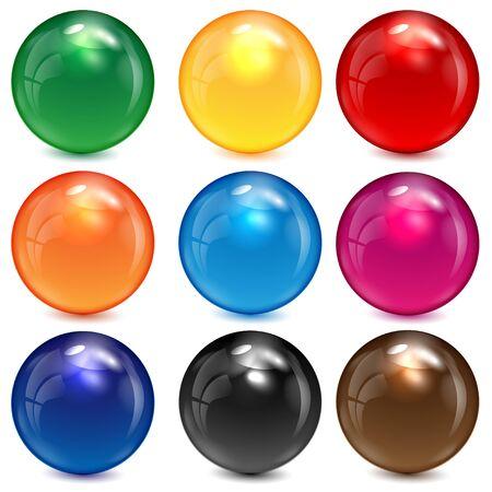 ensemble de sphères colorées sur un fond blanc