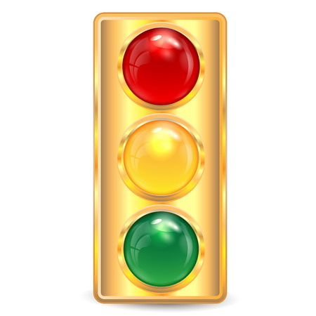 traffic-light of gold color on a white background