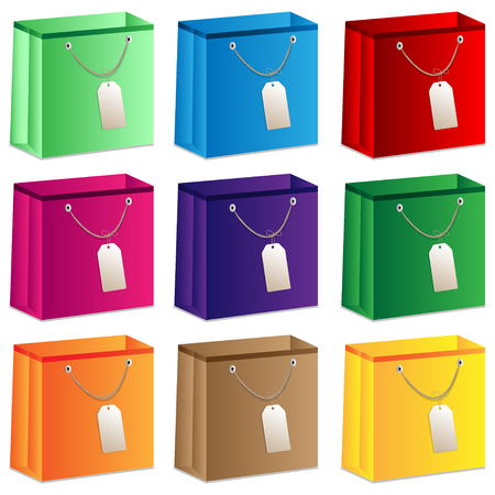 set of bright packages for purchases Illustration