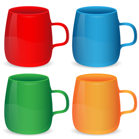 cheerfulness: set of cups of different color on a white background Illustration