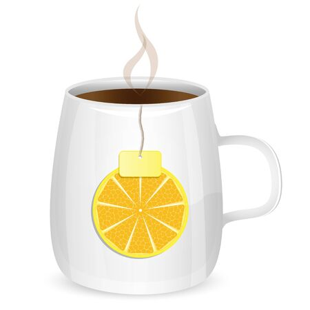 deliciously: cup with tea and lobule of lemon