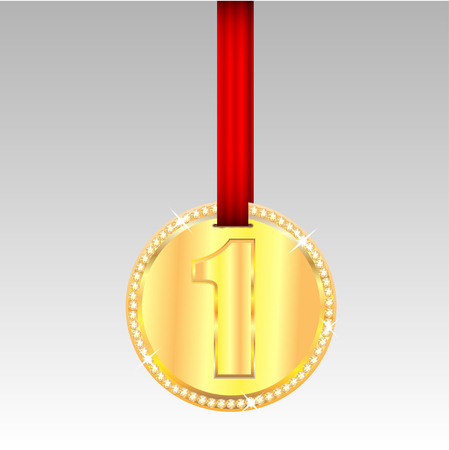 competitor: gold medal with number one on a red ribbon