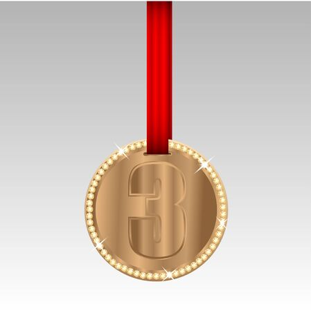 ablaze: bronze medal with the number three on red tape Illustration