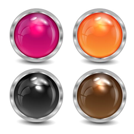 silvery: set of the varicoloured buttons is in a silvery frame