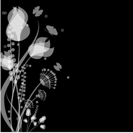bloemen en vlinders van witte kleur op een zwarte achtergrond