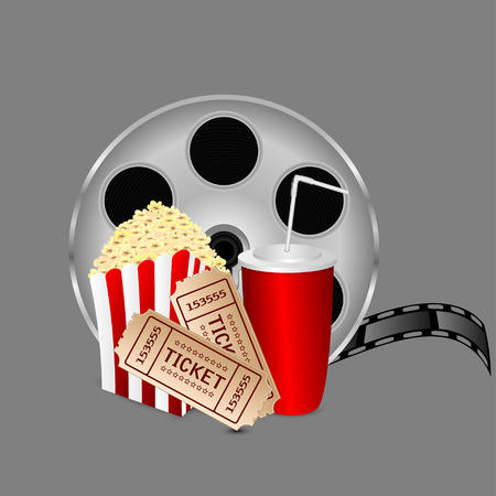 film with popcorn and a drink on a gray background