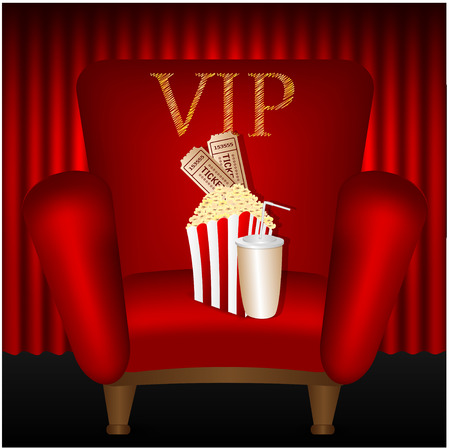 portiere: chair and popcorn and a drink on a background of red curtains