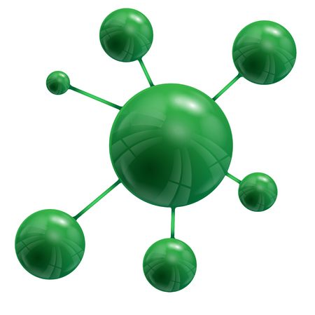 green round spheres are united inter se on a white background Illustration