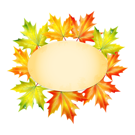 Blank sheet of paper decorated with autumn maple leaves.autumn background.vector