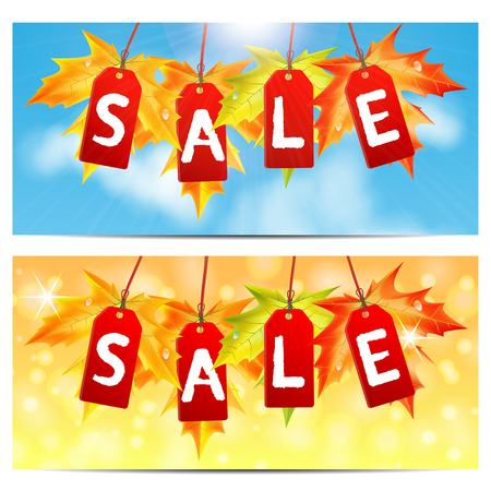 Word sale on red labels decorated with autumn maple leaves.set of backgrounds about the autumn sale.vector Illustration