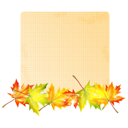 background with autumn leaves and sheet of paper into a cell.autumn background.school background.vector