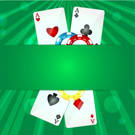playing cards and poker chips on a green background