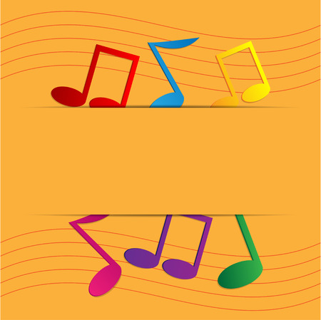 operetta: colored notes on an orange background Illustration