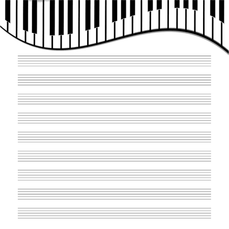 operetta: music paper is decorated by the keys Illustration