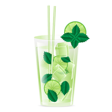 lemon grass: glass with ice and a drink garnished with lime and mint