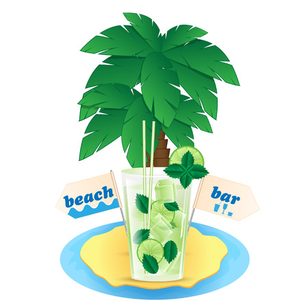 tubule: island with palm trees and a glass of mojito Illustration