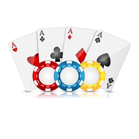 cheques: playing cards and poker chips on a white background