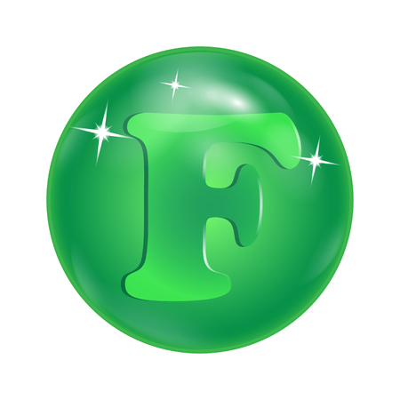 chemical element symbol F in a green bowl